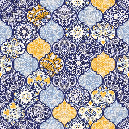 Seamless colorful patchwork with mandala. Islam, Arabic, Indian, ottoman motifs. Endless pattern can be used for ceramic tile, wallpaper, linoleum, textile, web page background. Vector Иллюстрация
