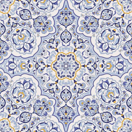 Seamless colorful pattern with Turkish motif. Hand drawn seamless abstract pattern from floral mandala. Majolica pottery tile, blue, yellow azulejo. Original traditional Portuguese and Spain decor