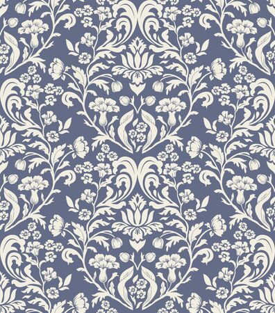 Vintage seamless pattern in Portugal style. Azulejo Seamless tile in blue and white colors. Endless pattern can be used for ceramic tile, wallpaper, linoleum, textile, web page background