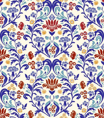 Vintage seamless pattern in Portugal style. Azulejo Seamless tile in colorful colors. Endless pattern can be used for ceramic tile, wallpaper, linoleum, textile, web page background