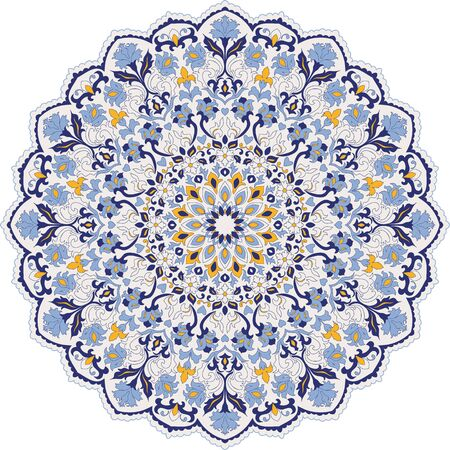 colorful pattern with Turkish motif. Hand drawn   abstract pattern from floral mandala. Majolica pottery tile, blue, yellow azulejo. Original traditional Portuguese and Spain decor