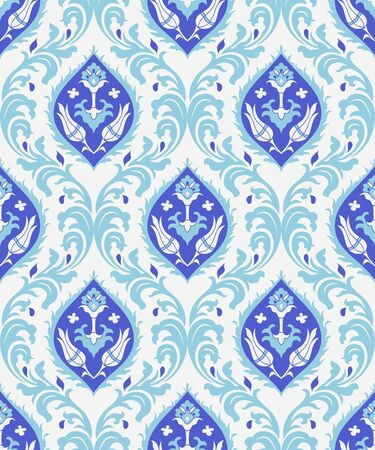 Vintage seamless damask pattern. Colorful Tile in turkish style. Hand drawn floral background. Wallpaper in Victorian style. Islam, Arabic, Indian, Ottoman motif. Vector illustration