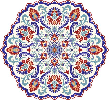 Floral hand drawn Mandala. Turkish motif. Round colorful floral ornament Traditional Oriental pattern. Isolated decorative element for card design, t-shirt print, ceramic tile.