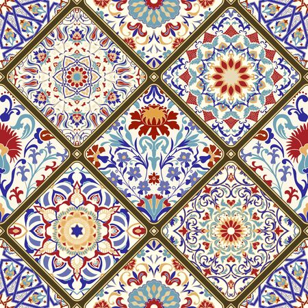 Seamless ceramic tile with colorful patchwork. Vintage multicolor pattern in turkish style. Hand drawn background. Islam, Arabic, Indian, Ottoman motifs