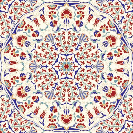 Seamless colorful pattern with mandala. Vintage decorative element. Hand drawn pattern in turkish style. Islam, Arabic, Indian, ottoman motif. Vector illustration