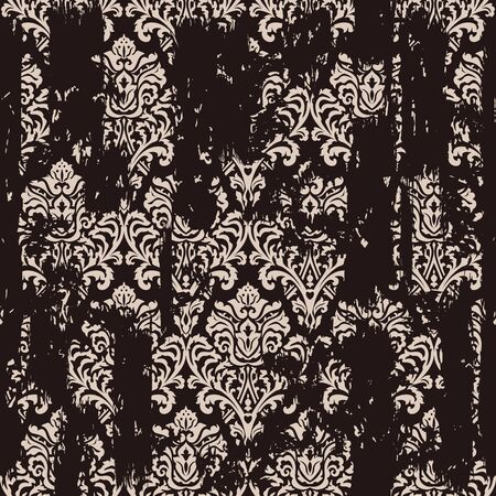 Seamless vintage oriental pattern with an effect of attrition. Freehand drawing. Template seamless damask pattern. Vector illustration Векторная Иллюстрация