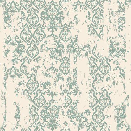 Seamless vintage oriental pattern with an effect of attrition. Freehand drawing. Template seamless damask pattern. Vector illustration