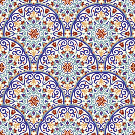 Seamless ceramic tile with colorful patchwork. Vintage multicolor pattern in turkish style. Endless pattern can be used for ceramic tile, wallpaper, linoleum, textile, web page background. Vector. Иллюстрация