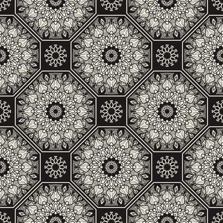 Seamless patchwork in turkish style. Vintage decorative elements. Hand drawn background. Islam, Arabic, Indian, Ottoman motifs. Perfect for printing on fabric or paper, ceramic tile Иллюстрация