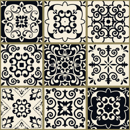 Seamless patchwork in turkish style. Hand drawn background. Azulejos tiles patchwork in black and beige. Portuguese and Spainish decor. Islam, Arabic, Indian, Ottoman motif Иллюстрация