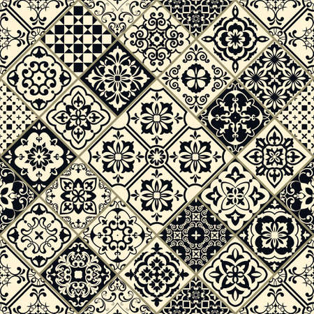Seamless patchwork in turkish style. Hand drawn background. Azulejos tiles patchwork in black and beige. Portuguese and Spainish decor. Islam, Arabic, Indian, Ottoman motif
