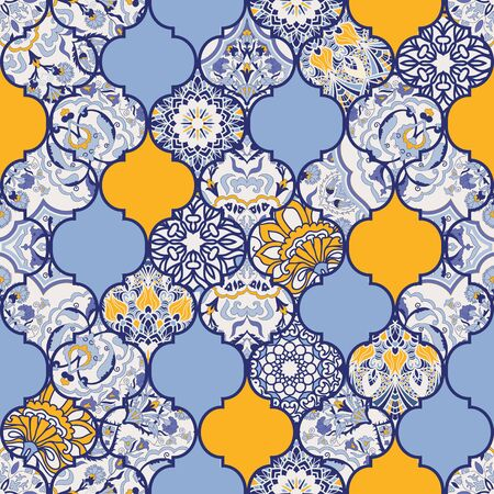 Seamless colorful patchwork in turkish style. Islam, Arabic, Indian, ottoman motifs. Endless pattern can be used for ceramic tile, wallpaper, linoleum, textile, web page background. Vector
