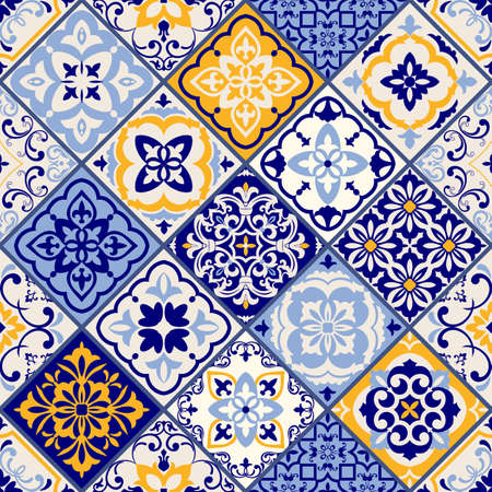 Seamless patchwork tile in blue and white colors. Vintage multicolor pattern in Spanish style. Endless pattern can be used for ceramic tile, wallpaper, linoleum, textile, web page background