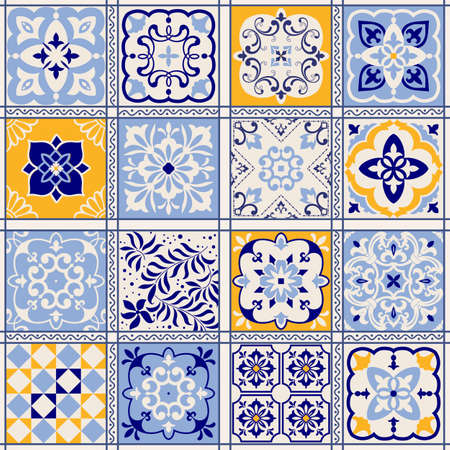 Seamless colorful patchwork in turkish style. Hand drawn background. Azulejos tiles patchwork. Portuguese and Spain decor. Islam, Arabic, Indian, ottoman motif. Perfect for printing on fabric or paper