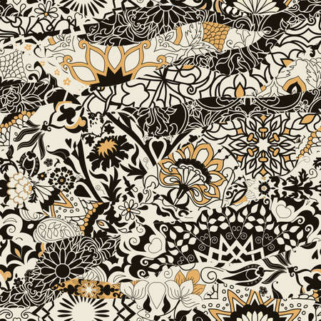 Azulejos tile patchwork. Seamless patchwork. Hand drawn seamless abstract pattern from mandalas. Majolica pottery tile, black, gray, yellow azulejo. Original traditional Portuguese and Spain decor Иллюстрация