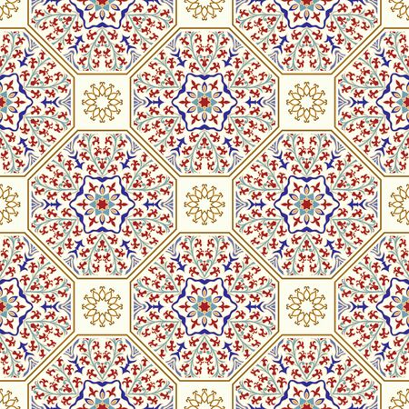 Seamless colorful patchwork in turkish style. Vintage decorative elements. Hand drawn background. Islam, Arabic, Indian, Ottoman motifs. Perfect for printing on fabric or paper, ceramic tile