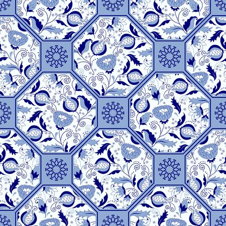 Seamless colorful patchwork in turkish style. Hand drawn seamless abstract floral pattern. Majolica pottery tile, blue, white azulejo. Original traditional Portuguese and Spain decor Иллюстрация