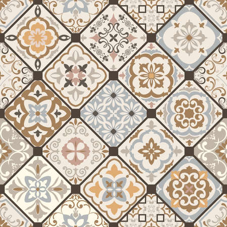 Seamless colorful patchwork. Hand drawn background. Azulejos tiles patchwork. Traditional ornate Portuguese and Spanish decorative tiles azulejos. Abstract background. Ceramic tiles. Vector Иллюстрация