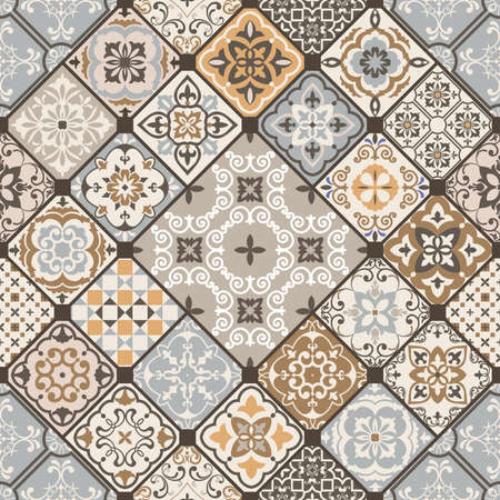 Seamless colorful patchwork. Hand drawn background. Azulejos tiles patchwork. Traditional ornate Portuguese and Spanish decorative tiles azulejos. Abstract background. Ceramic tiles. Vector