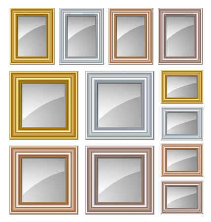 Gold, silver, bronze and copper frames suitable for pictures, paintings and mirrors Vector
