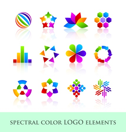 Spectral color logo design elements with reflections Vector