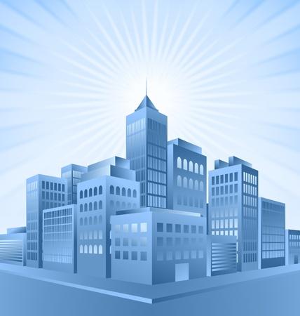 Blauwe stad gebouwen met zonnestraal effect op de achtergrond