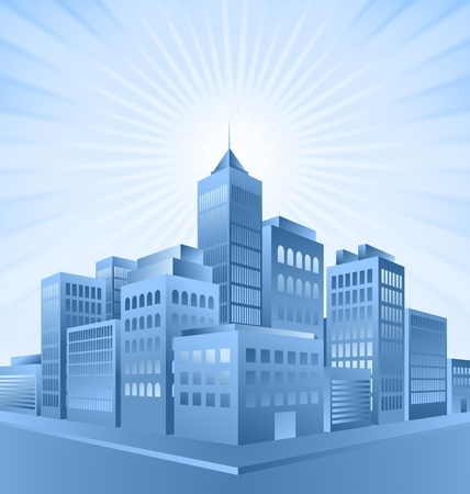 Blue city buildings with sunburst effect in the background Vector