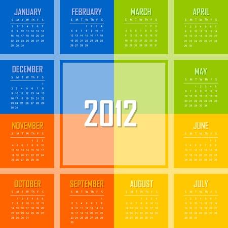 mon 12: Calendar template for 2012 year