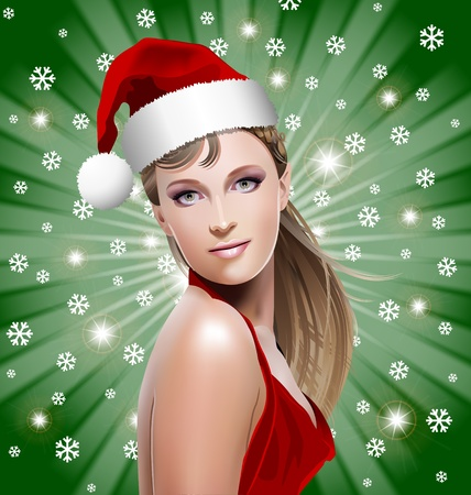 Santa Girl with Santa hat, snowflakes and stars on green background Vector