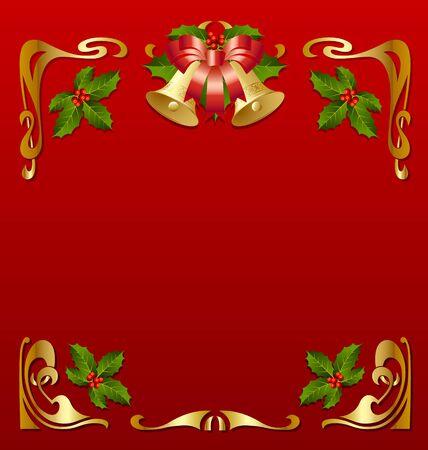 jugendstil: Christmas vintage frame in secession style Illustration