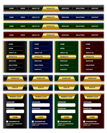 navigation object: Horizontal and vertical navigation menu and website elements with shiny golden effect Illustration