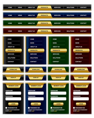 Horizontale en verticale navigatie menu en website-elementen met glanzende gouden effect