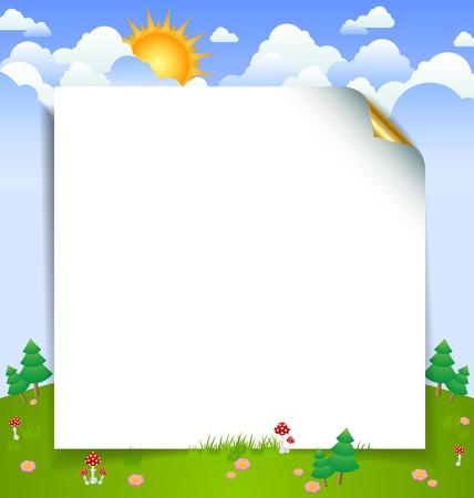 Curly vel papier voor uw bericht met mooie bewolkte dag landschap landschap op de achtergrond Stock Illustratie