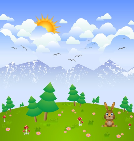 Idylic cloudy day landscape with bunny Vector