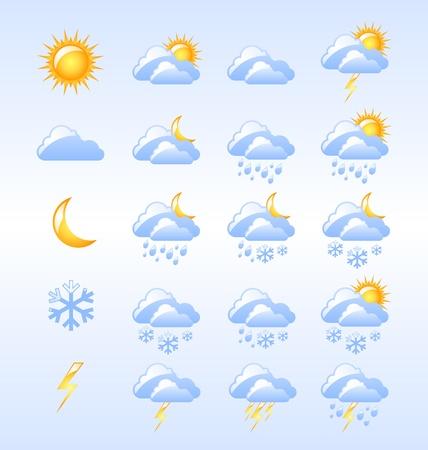 Set van glanzende weerplaatjes nuttig zijn voor webdesign doeleinden Stock Illustratie