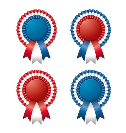 award ribbon rosette: Four tricoloured and easy customizable rosettes isolated on white background