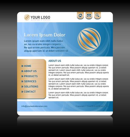 w3c: Easy customizable blue and gold website template layout Illustration