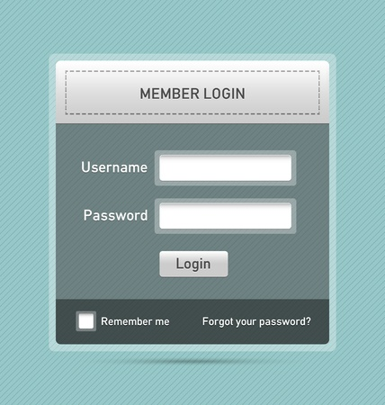 Easy customizable semitransparent member login website element Illustration