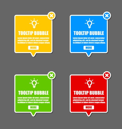 tooltip: Tooltip design elements with lightbulb and closing cross Illustration