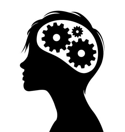 thinking machine: Silueta de mujer con marchas cerebro pensante en la cabeza Vectores