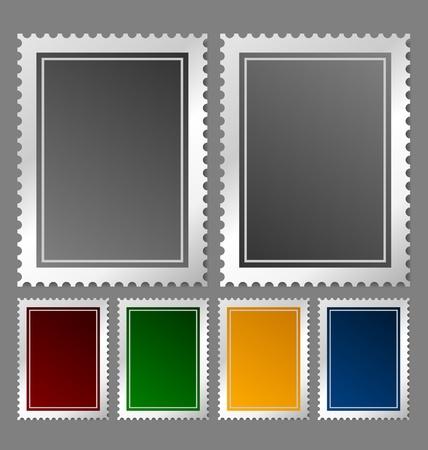 Postzegel sjabloon in diverse kleurvariaties Stock Illustratie
