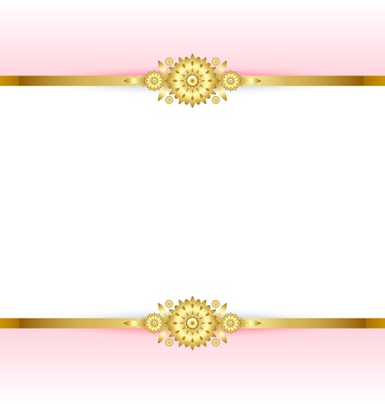 Document template with pink and golden floral background Stock Vector - 11294452