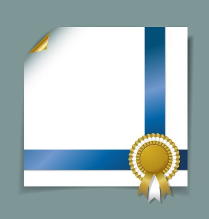 Curly paper page template with golden rosette and blue ribbon  Vector