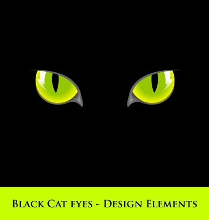 Design elementen van de zwarte kat met groene ogen Stock Illustratie