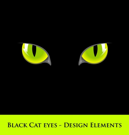 Design elements of black cat with green eyes Vector
