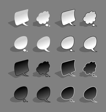 Bended, paper style, black and white speech bubbles with shadow Vector