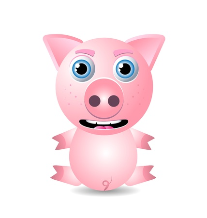 swine: Cute animal character isolated on white background Illustration
