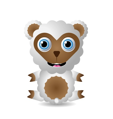 ovejita bebe: Car�cter animal lindo aislado sobre fondo blanco