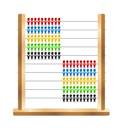Wooden and plastic school abacus with swallow shaped beads Vector