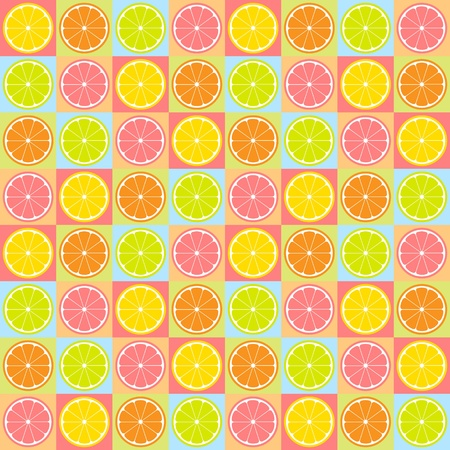 Colorful seamless retro pattern with citrus theme Vector
